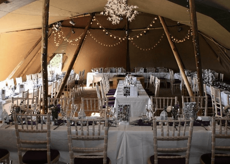 Marquee makeover with tipi teepee