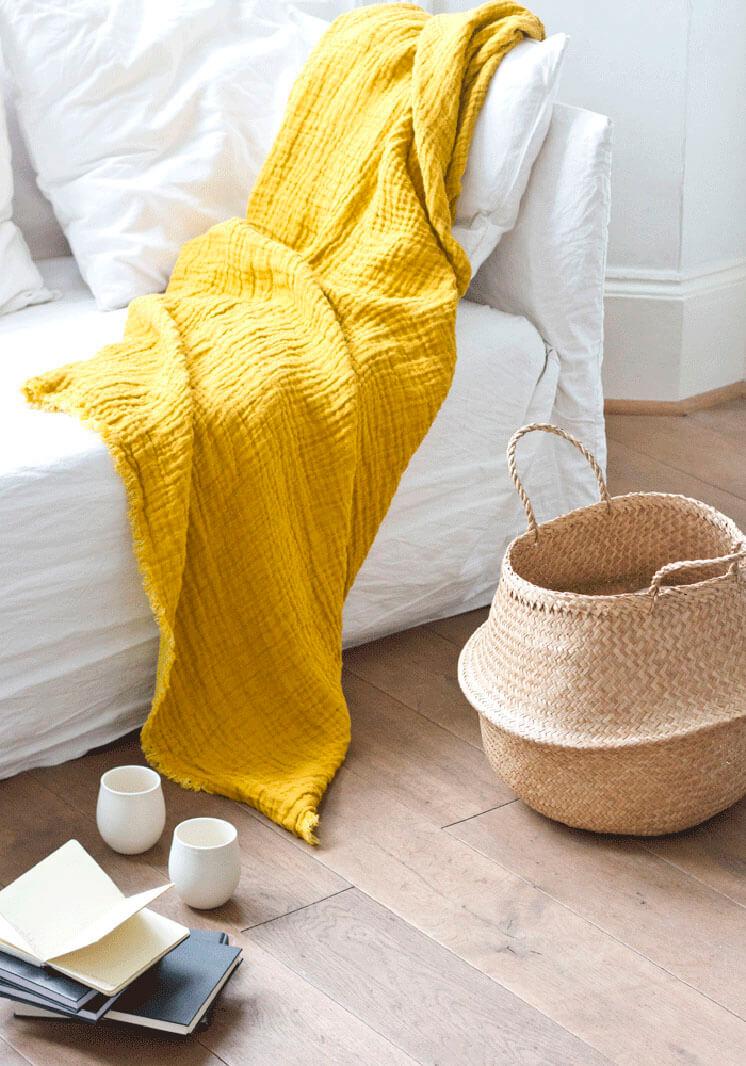 Boudie and Fou Seagrass Basket Yellow Throw Est Magazine