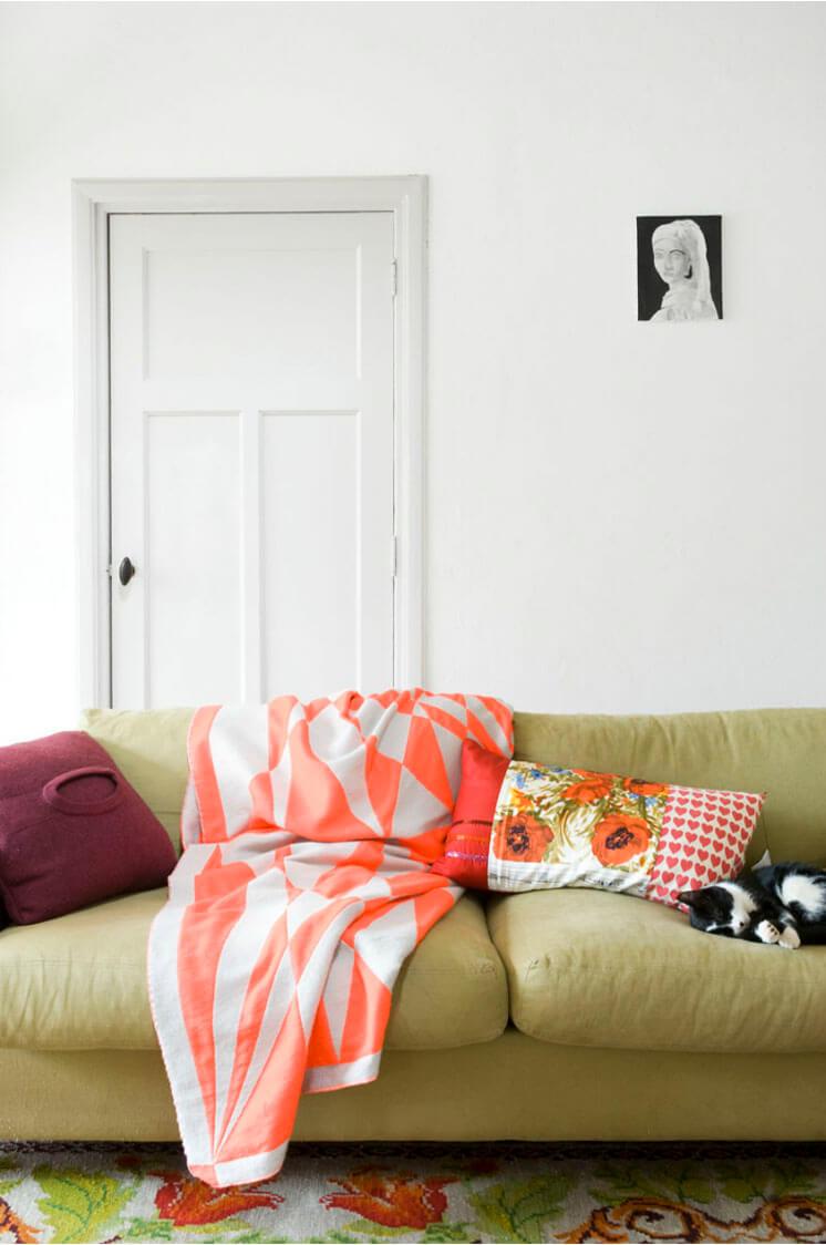 Marjon Hoogervorst Photographer Sofa Orange Striped Throw Est Magazine