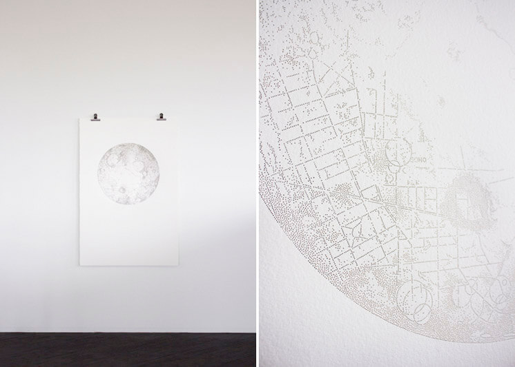 Miso Moon A Map of London on the Riots pin pricks on paper Est Magazine