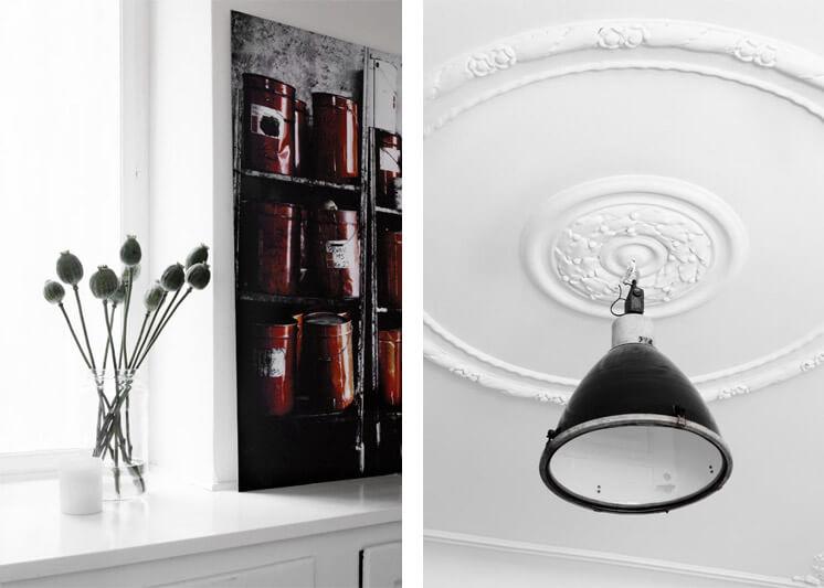Industrial Pendant and Poppies Yvonne Kone Home © Line Klein for Elle Decoration Est Magazine