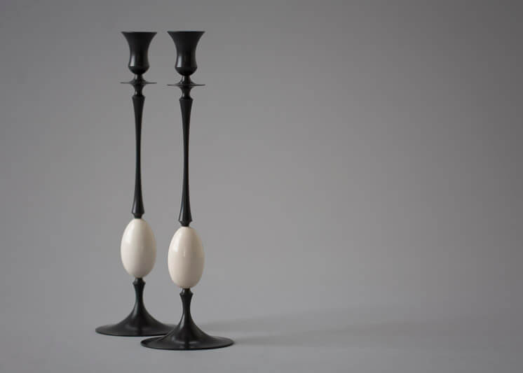 Collaboration Ted Muehling Biedermeier Candlesticks Oxidized Bronze with Fossil Ivory Eggs