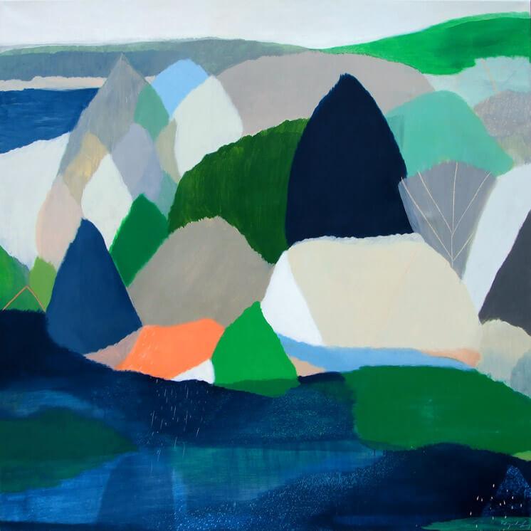 Waterway 122 x 122cm. Acrylic on canvas Belynda Henry Est Magazine