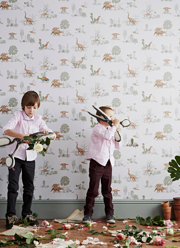 Boys Cutting Flowers Magnetic Dino Wallpaper Sian Zeng © Jon Day Est Magazine