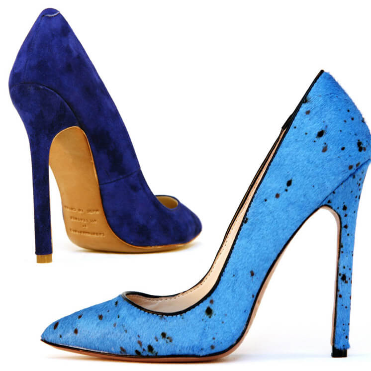 Gilda Cobolt Suede and Painted Blue Pump Heel Lauren Martinis Est Magazine