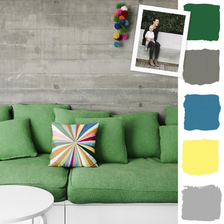 Green Sofa Colour Chronicles Jane and Simon Hayman Bauwerk Colour © Brooke Holm Est Magazine