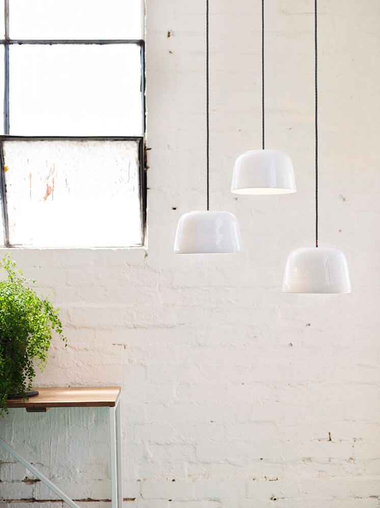 Medium Potter White Pendant Lights with Satin Glaze Bruce Rowe Anchor Ceramics © Scottie Cameron Est Magazine