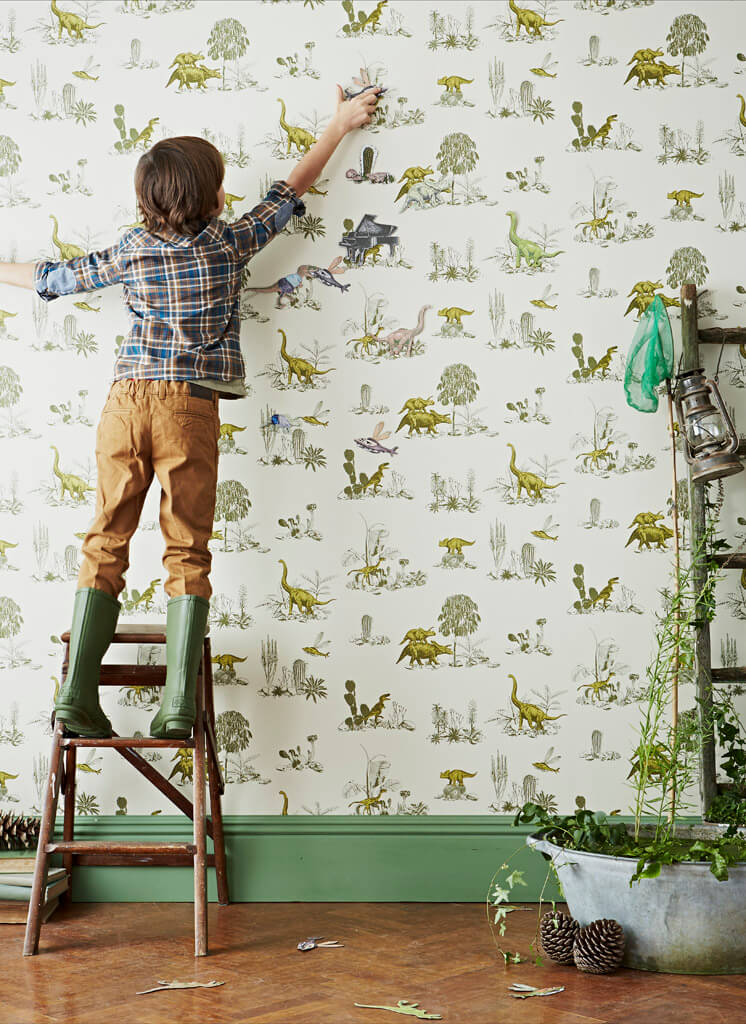 Yellow Green Ladder Magnetic Dino Wallpaper Sian Zeng © Jon Day Est Magazine