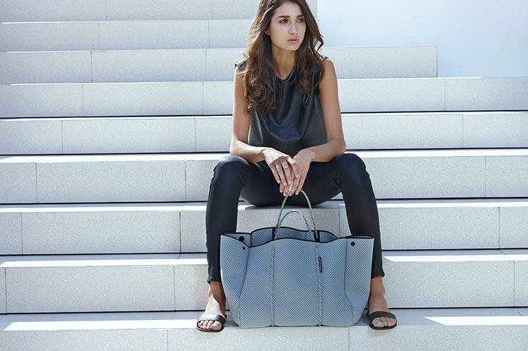Grey bag stairs State of Escape Est Magazine