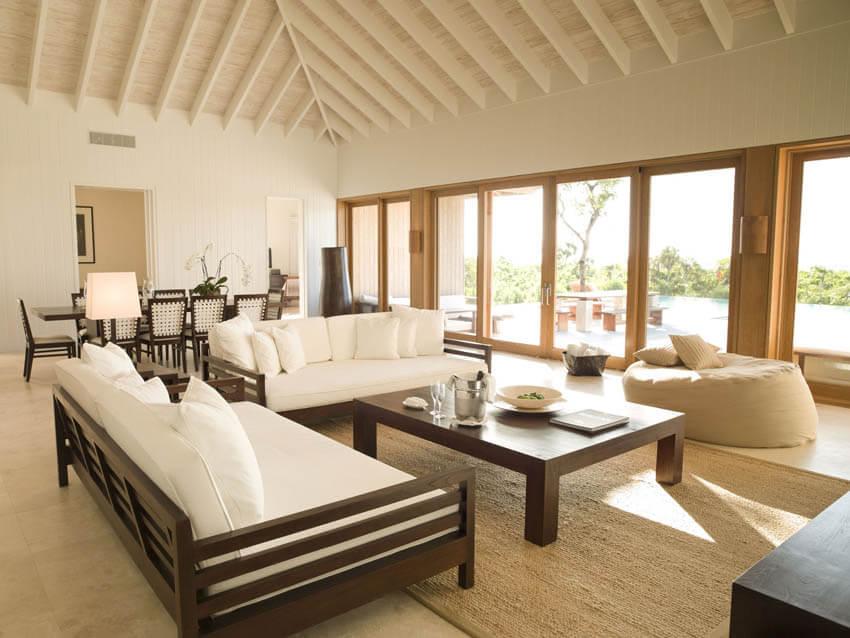 Winter Resort Getaways Parrot Cay Three Bed Living Room