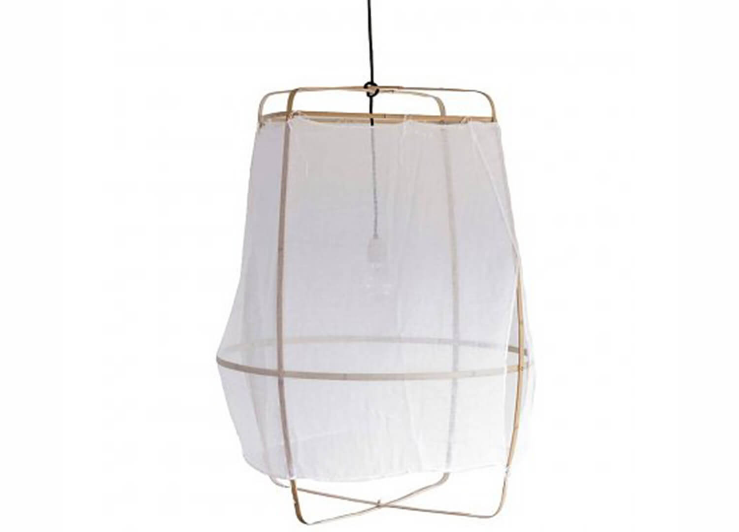 est living ay illuminate ona bamboo pendant with white cotton