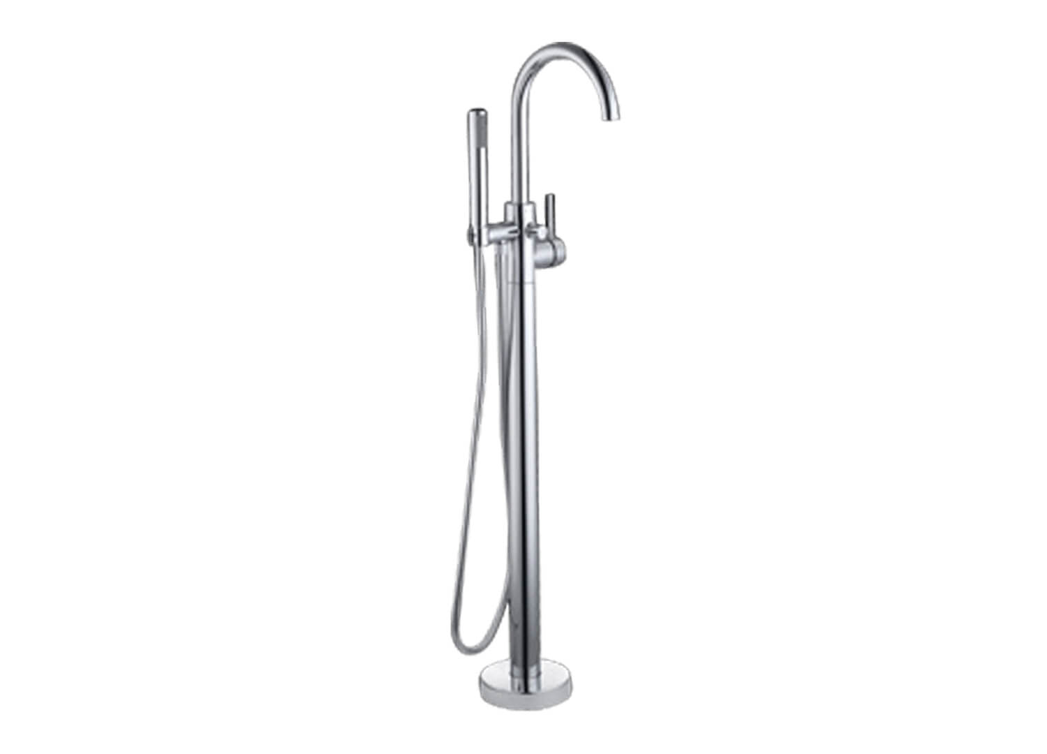 Est Living Design Directory Abey Lucia Floor Mounted Bath Mixer with Hand Shower 1