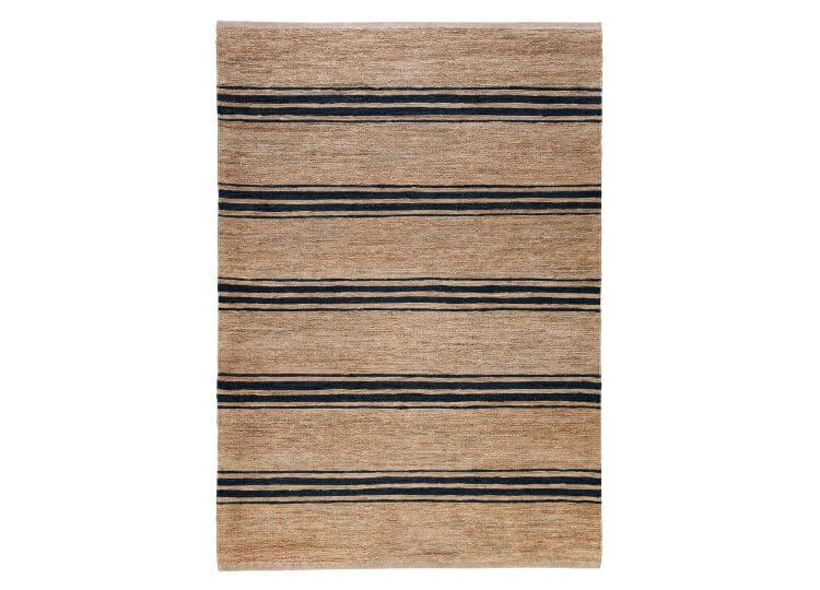 River Ticking Stripe Rug – Natural & Indigo