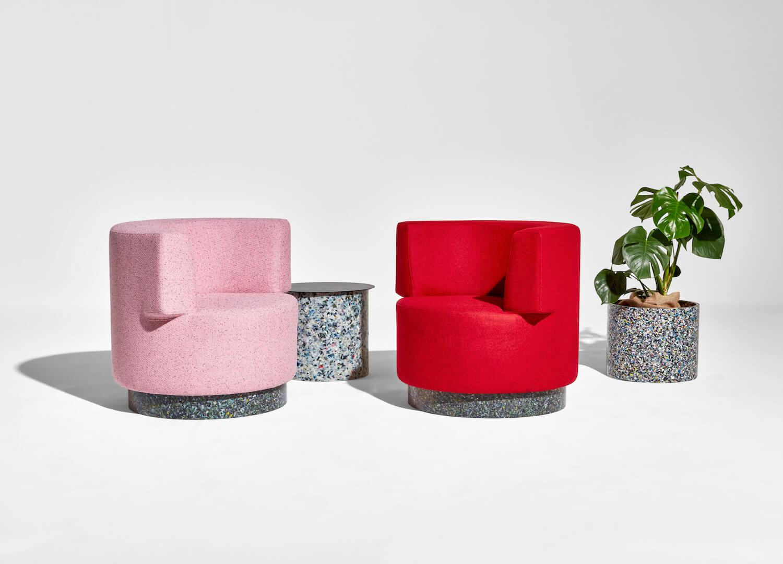 est living denfair 2018 confetti armchairs pink red plastic base planter side table hr