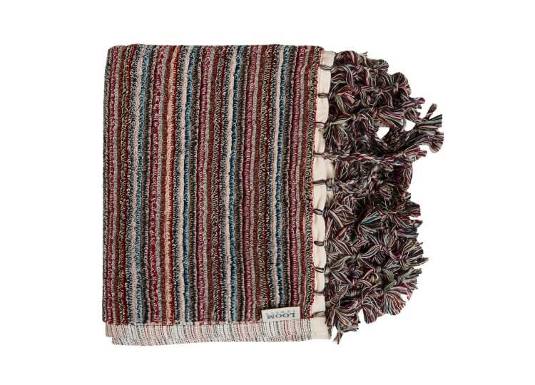 Berry Stripe Bath Mat Loom Towels
