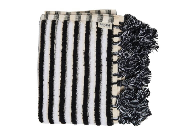 Black and White Stripe Bath Mat Loom Towels