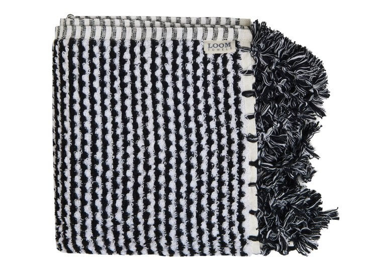 Black and White Weave Bath Mat Loom Towels