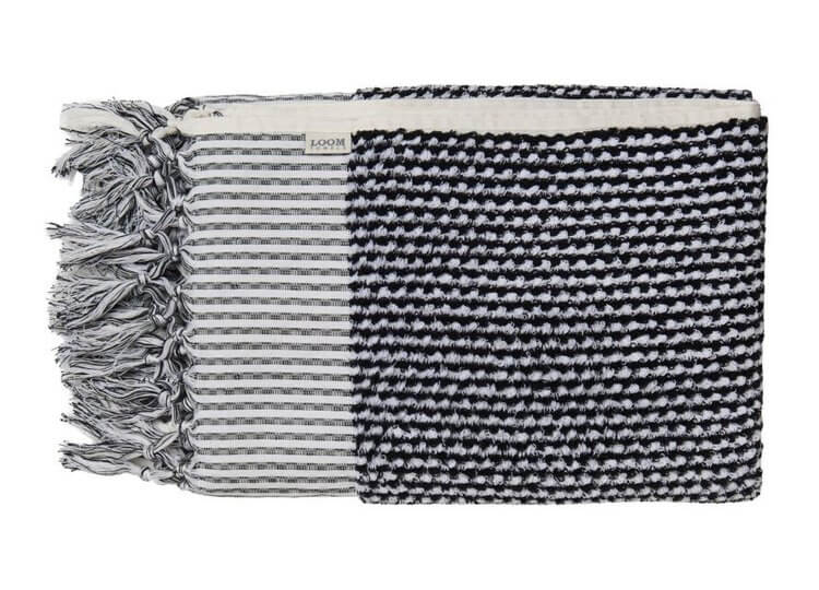 Black and White Weave Bath Towel Loom Towels