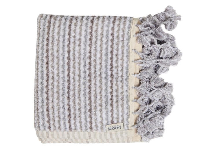 Loom Grey and White Wave Bath Mat Loom Towels