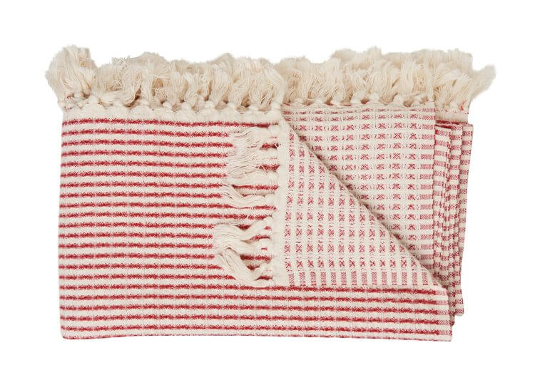Loom Large Cotton Waffle Blanket Red
