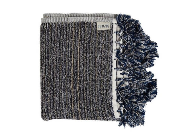 Loom Navy and Cream Stripe Bath Mat Loom Towels