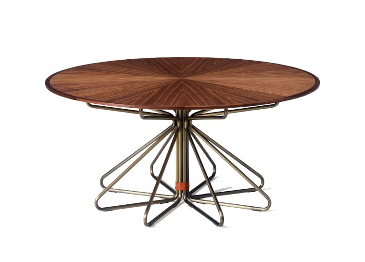 Geometric Dining Table in Walnut and Satin Nickel