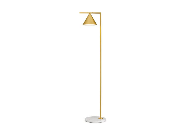 Captain Flint Floor Lamp in Brushed Brass/White Marble