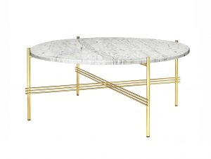 Gubi TS Coffee Table 32inch (White Carrara Marble/Brass Base)
