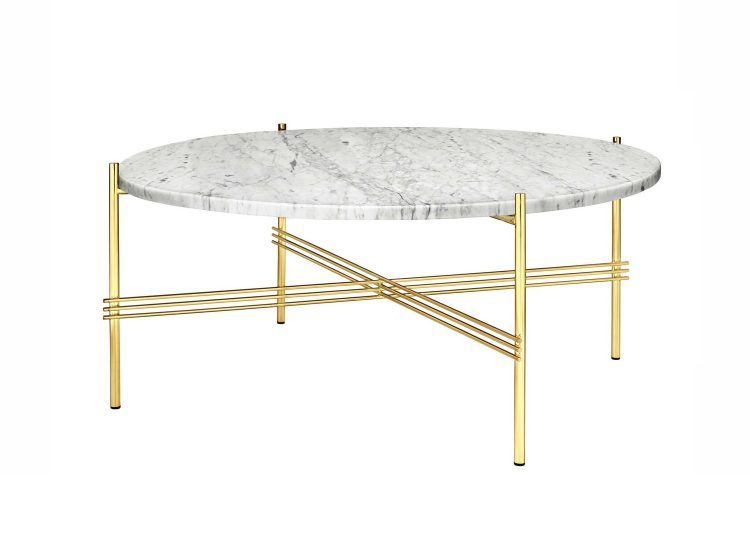 est living gubi ts coffee table 32inch white carrara marble brass base 01 750x540