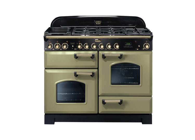 Falcon Classic Deluxe 110cm Dual Fuel Range Cooker (Olive & Brass)