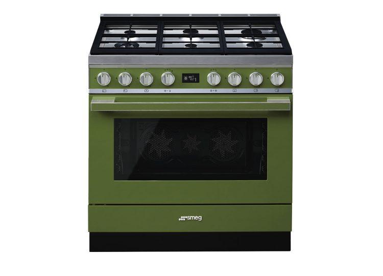Smeg 90cm Portofino Pyrolytic Freestanding Cooker (Olive Green)