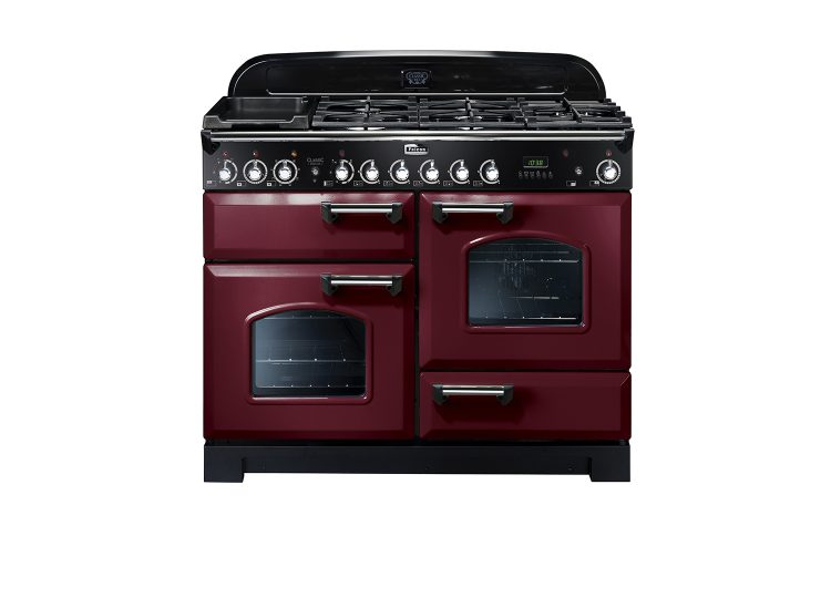 Falcon Classic Deluxe 110cm Dual Fuel Range Cooker (Cranberry & Chrome)