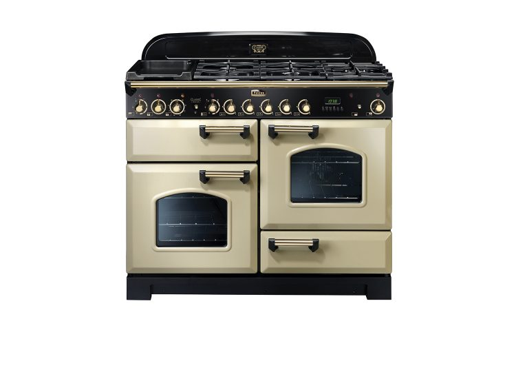 est living falcon classic deluxe 110cm dual fuel range cooker cream brass 750x540
