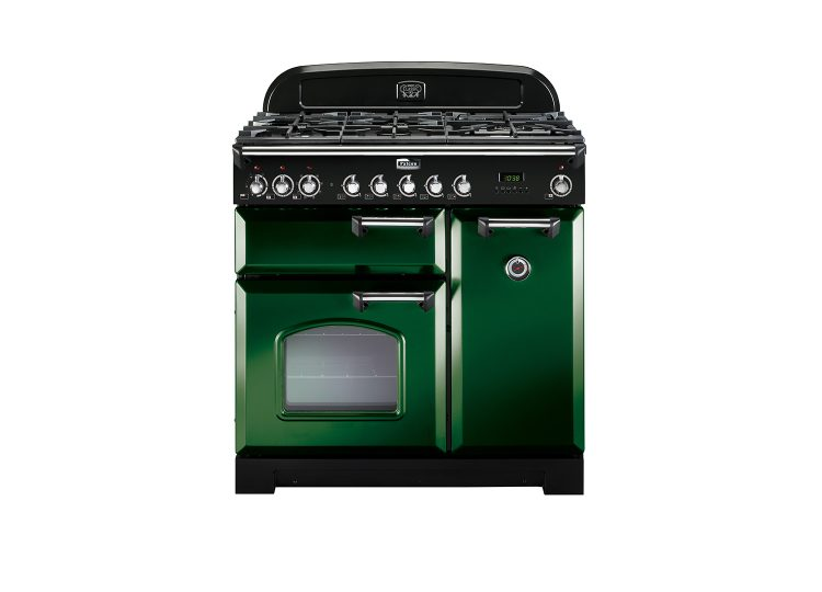 Falcon Classic Deluxe 90cm Dual Fuel Range Cooker (Racing Green & Chrome)
