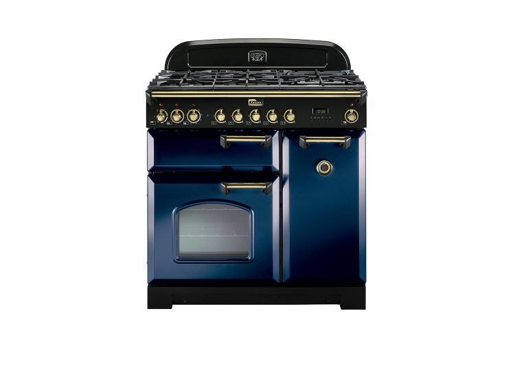 Falcon Classic Deluxe 90cm Dual Fuel Range Cooker (Royal Blue & Brass)