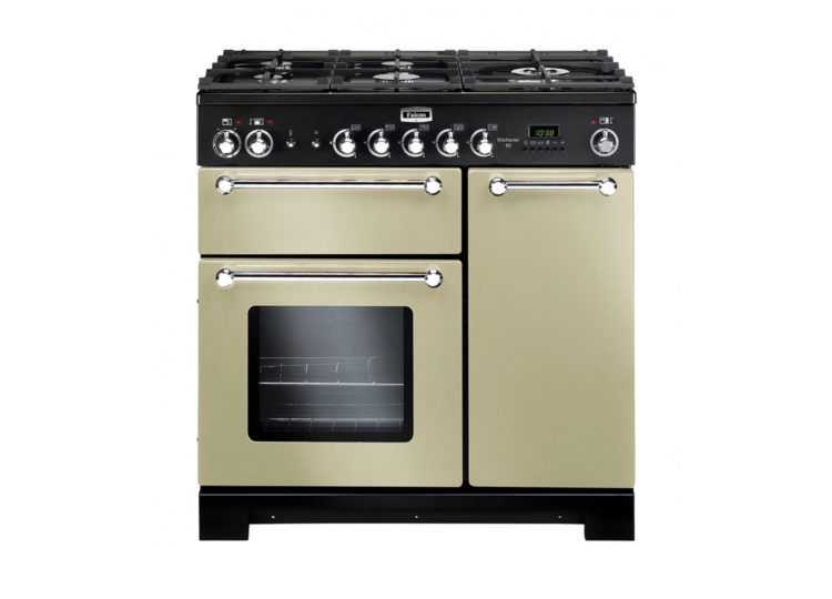 Falcon Kitchener 90cm Dual Fuel Range Cooker (Cream & Chrome)