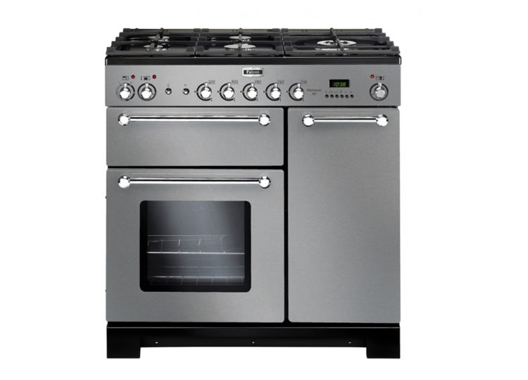 Falcon Kitchener 90cm Dual Fuel Range Cooker (Stainless Steel & Chrome)