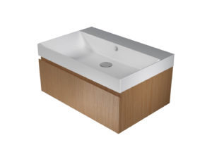 Catalano Zero+ 75 Basin with Integrated Cabinet – Oak