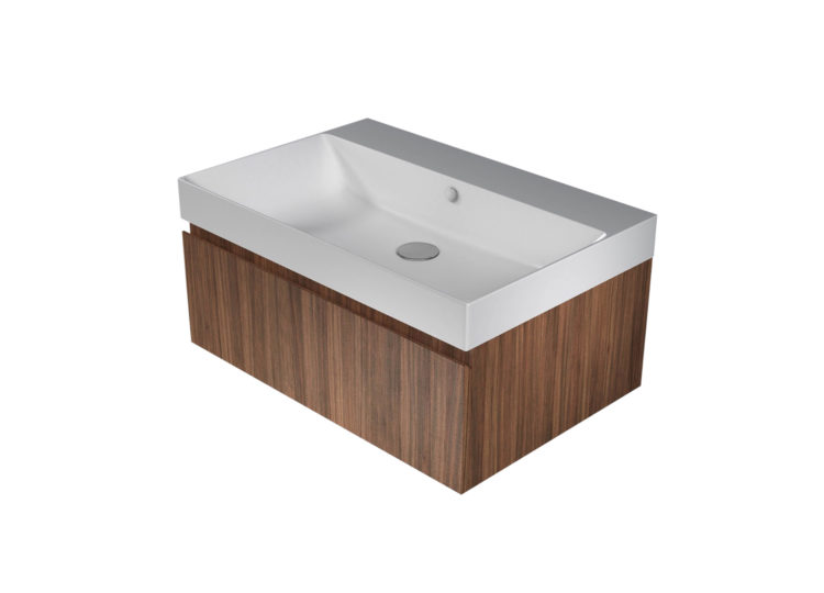 Catalano Zero+ 75 Basin with Integrated Cabinet – Walnut