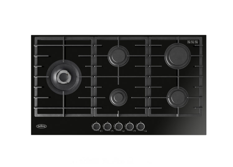 Belling 90cm Black Gas-Thru-Glass Cooktop