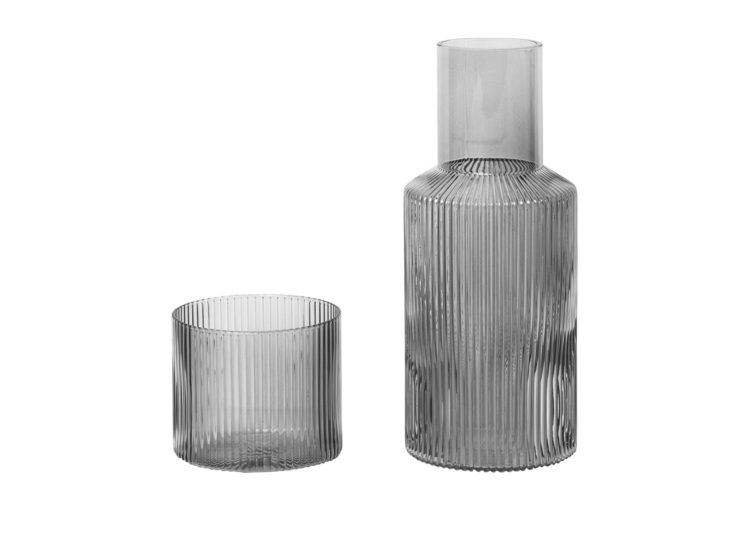 Ferm Living Ripple Carafe Set Small – Smoked Grey
