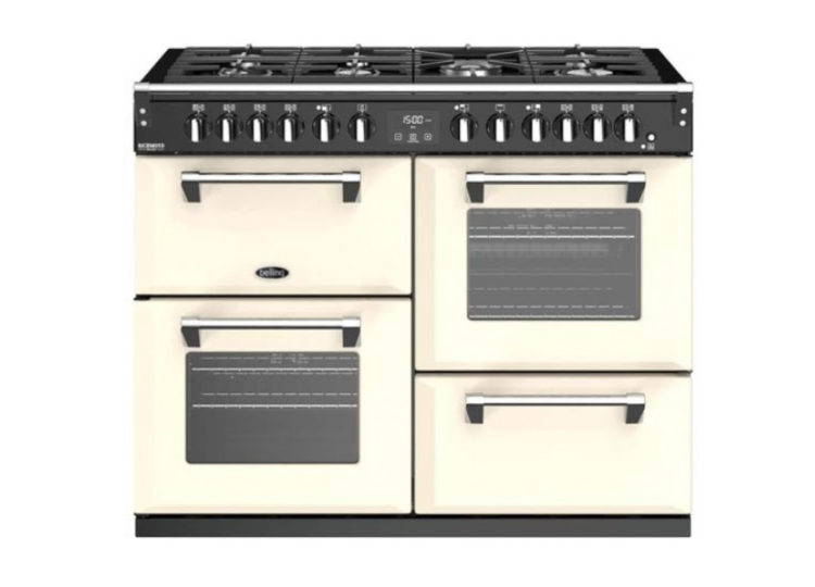 est living belling richmond deluxe 110cm dual fuel range cooker cream 750x540
