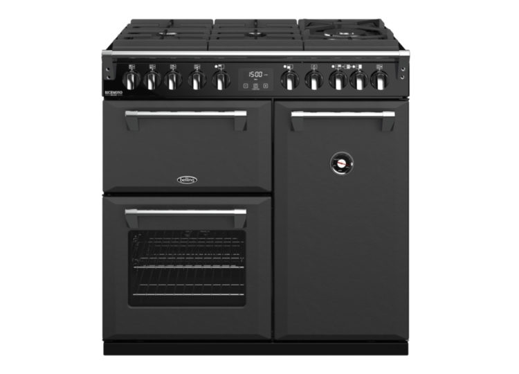 est living belling richmond deluxe 90cm dual fuel range cooker graphite 750x540
