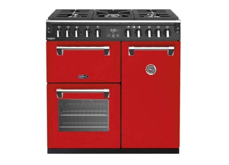 est living belling richmond deluxe 90cm dual fuel range cooker red 750x540