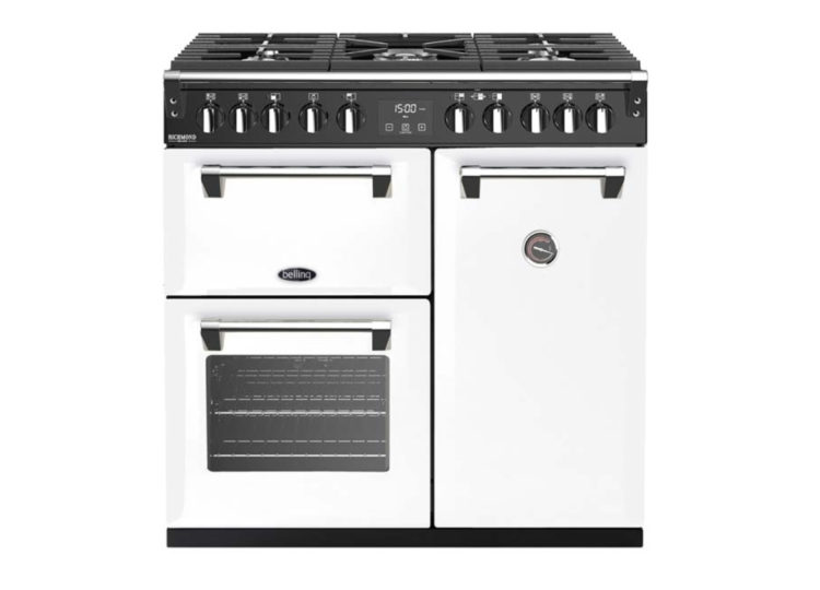 est living belling richmond deluxe 90cm dual fuel range cooker white 750x540