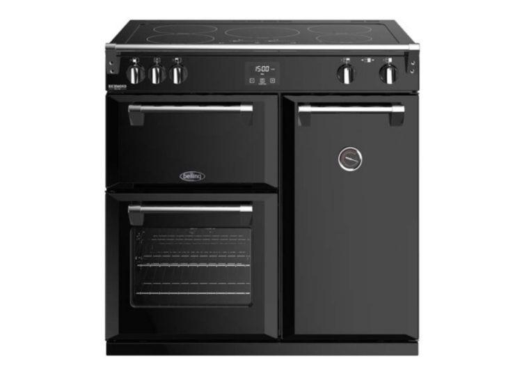 est living belling richmond deluxe 90cm induction range cooker black 750x540