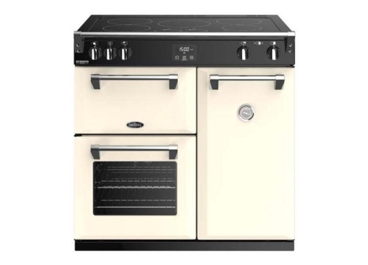 est living belling richmond deluxe 90cm induction range cooker cream 750x540