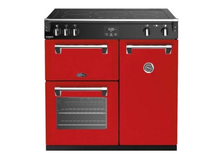 est living belling richmond deluxe 90cm induction range cooker red 750x540