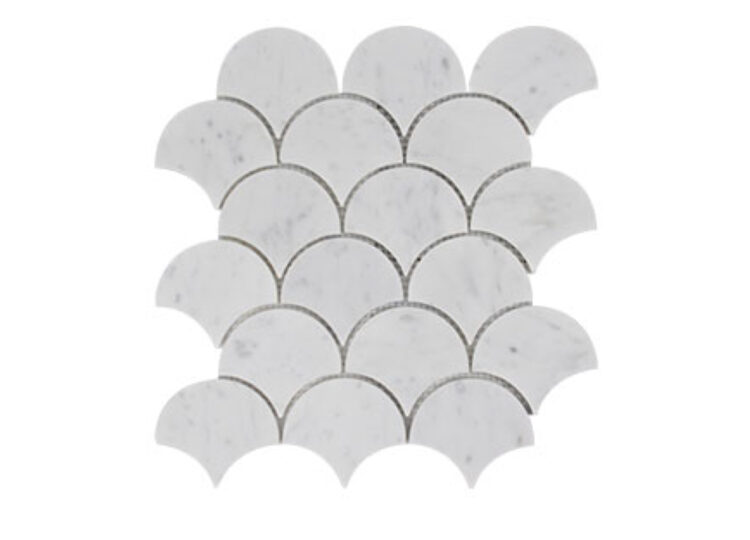 Carrara Honed Fan Mosaic Tile