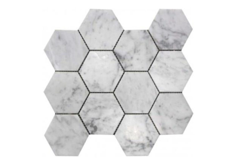 Bianco Carrara 100mm Hexagon Mosaic